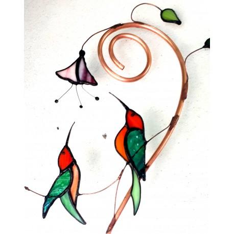 Colibri vitraliu decoratiune gradina
