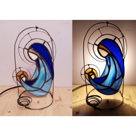 Icoana vitraliu Fecioara Maria cu Pruncul