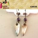 Cercei sidef frunza si perla de cultura violet 2