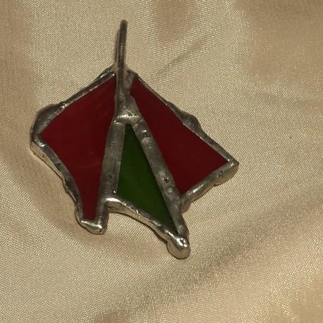 Pandantiv unicat vitraliu rosu verde