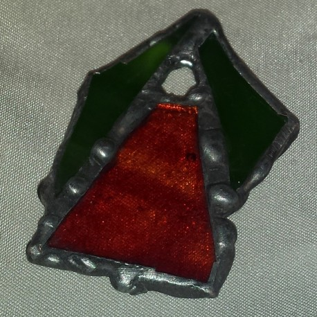 Pandantiv unicat vitraliu verde rosu