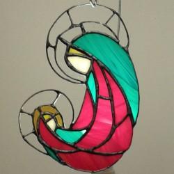 Icoana vitraliu Fecioara Maria cu Pruncul 2
