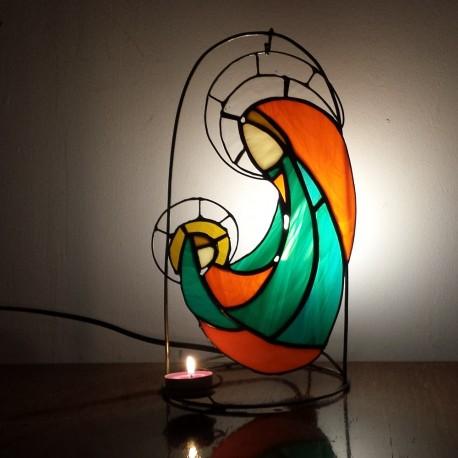 Icoana vitraliu Fecioara Maria cu Pruncul 3