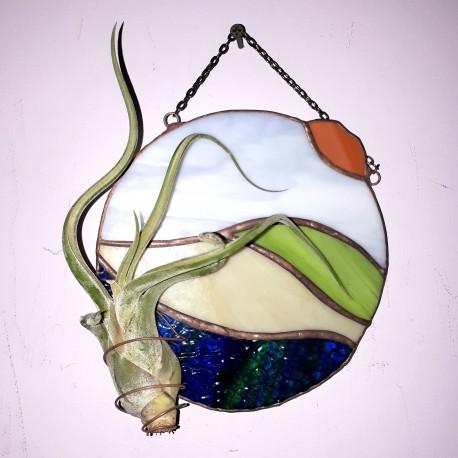 Decoratiune vitraliu cu Tillandsia
