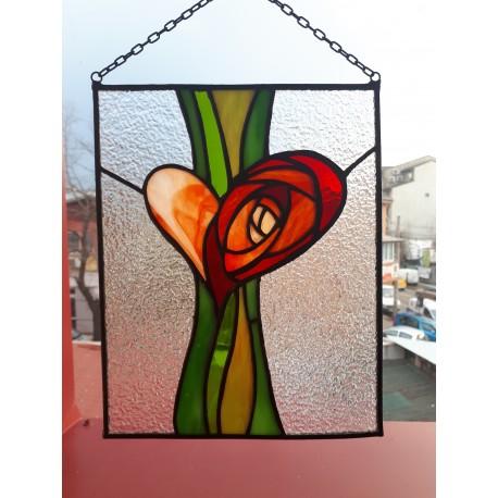 Tablou vitraliu trandafir si inima