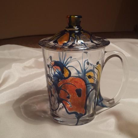 Cana sticla pictata albastru portocaliu