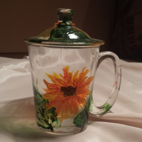 Cana sticla pictata floarea soarelui